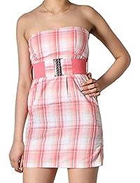 Freshmade Sommer Bandeau Kleid Gürtel Gr.XL Minikleid Strandkleid trägerlos rosa