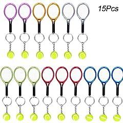 Idea Regalo - Creatiees 15pz Mini Tennis Racchetta Portachiavi Chiave Squillare - Squisita & Leggero(6 Colori)