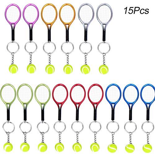 Creatiees 15 Stücke Mini Tennis Schläger Schlüsselbund Schlüssel Ring(Assortiert Farben)
