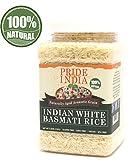 El orgullo de la India - Extra Largo Arroz Basmati de la India, envejecido naturalmente aromático grano, 2.2 libras (1 kilo) Jar