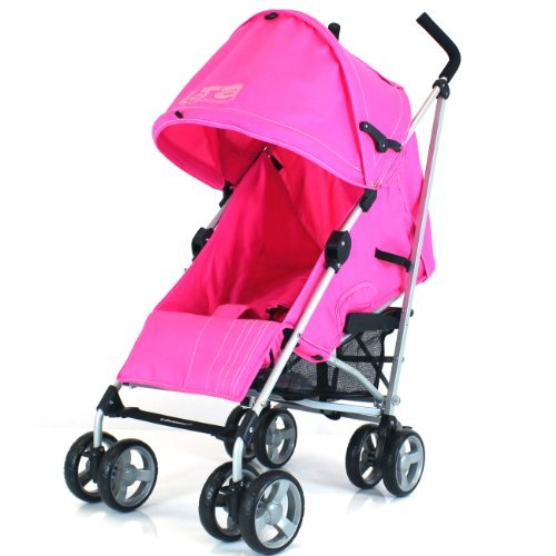 ZETA VOOOM - PINK + FREE Rain Cover Baby Stroller with Large Shade Maker sun canopy ideal for holidays