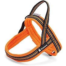 ZEEY Arnés seguro para mascotas con rayas reflectantes fluorescentes de noche de 3M, arnés de malla ajustable ajustable del chaleco del perro ajustable para los perros grandes / medios / pequeños, naranja (XS (46-58cm))