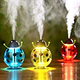 Ocamo 260ml USB Beetle Air Purify Ultrasonic Humidifier Aroma Aromatherapy Essential Oil Diffuser, Mini Portable Mist Humidifier LED Night Light Yellow
