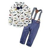 BIG ELEPHANT Baby Jungen 2 Stück Hosen Shirt Kleidung Set mit Strapsen (Hose Farbe Schiff nach dem Zufallsprinzip.Schwarz oder dunkelblau) E34L64