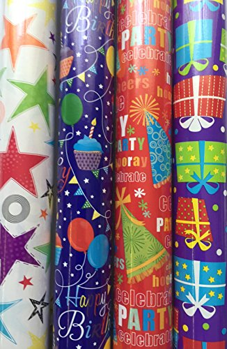 the-big-card-company-lot-de-4-rouleaux-de-papier-cadeau-danniversaire-assortiment-de-couleurs-vives