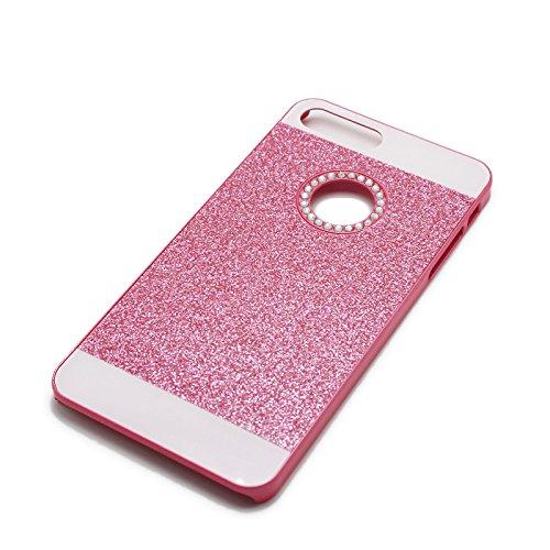 Schutz Hülle Tasche für Apple iPhone 6 Plus 6s Plus SILBER Bling Hart Strass Kunststoff Plastik Glitzer Handy Cover Case Rosa