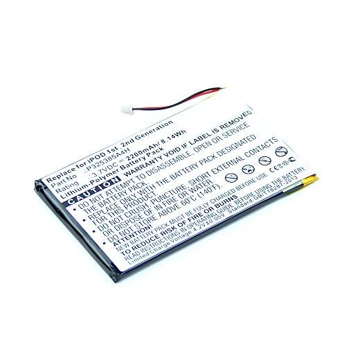 subtel® Qualitäts Akku kompatibel mit Apple iPod 1 Gen. iPod 2 Gen. M8541 A1019 - P325385A4H (2200mAh) Ersatzakku Batterie (Austausch Batterie Ipod)