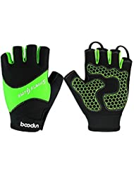 Delong guantes de ciclismo sin dedos CG-22microfibra, color verde, tamaño M-Hand circumference[7.5-8.3]inchs