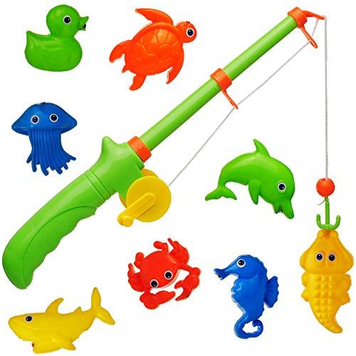 alles-meine.de GmbH 2 * 9 TLG. Set _ Magnet - Angelspiel - WASSERFEST -  je 8 Fische - Tiere - Enten  - drehbare + magnetische Angel - für Kinder - Angeln - Badewanne Spiel Fis..