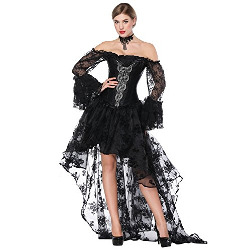 FeelinGirl Damen Korsagekleid Steampunk Gothic Kostüm Magic Mistress Hexenkostüm Teufelchen Halloween Cosplay Priatbraut (Size Plus Kostüme Halloween)