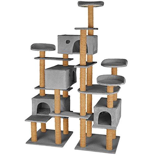 TecTake Katzen Kratzbaum Katzenbaum XXL | Stämme komplett mit Kokosseil umwickelt | 214cm hoch - Diverse Farben (Grau | Nr. 402807)