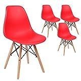 SVITA 4er Set Küchenstuhl Esszimmerstuhl Retro Design Schalensitz Farbwahl (Rot)