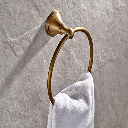 Joeesun Antike Bronze Handtuchring aus massivem Messing Handtuchhalter Handtuchhalter Schwarz Bronze geölt Bad-Accessoires, Gold - Geölte Bronze Bad