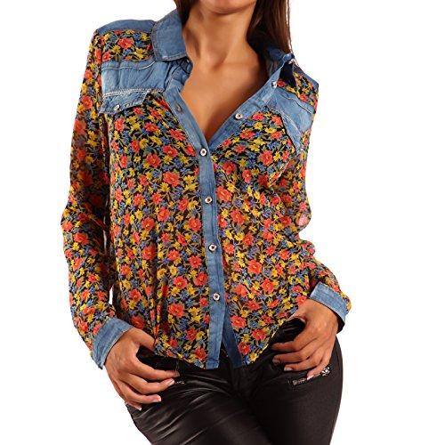 Damen Bluse Jeanshemd Druckbluse Transparent longsleeve Blouson Gelb/Blumen