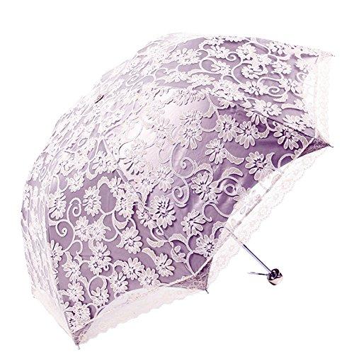 Honeystore Regenschirm, Automatik Spitze Outdoor Taschenschirm Bohème Stil Stabiler Schirm für Damen Violett (Spitze Oben Stil)