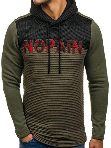 BOLF Herren Sweatshirt Pullover mit Kapuze mit Kordel Top AK72 Khaki_9105