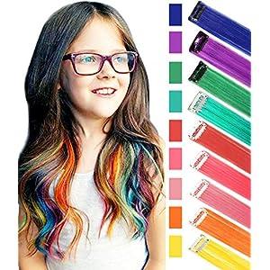 Rhyme Extensiones de Cabello Arco Iris Clip de Extensiones de Cabello de Color para niñas Muñecas Accesorios para el Cabello Wig Pieces For Kids 9 Piezas