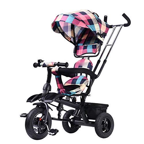 Kindgre Kinder Dreirad Baby Fahrrad Kind Vier-in-One-Kinderwagen Dreirädriger Kinderwagen Baby Carriage (Pink)