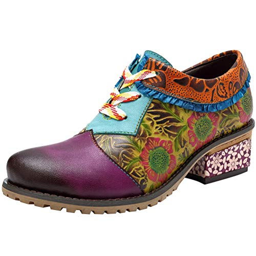 Mallimoda Damen Stiefeletten mit Absatz Weinlese Bunte Spleißen Lederschuhe Art 2-Lila EU 40=Asian 41 - Purple Schuhe Jane Mary