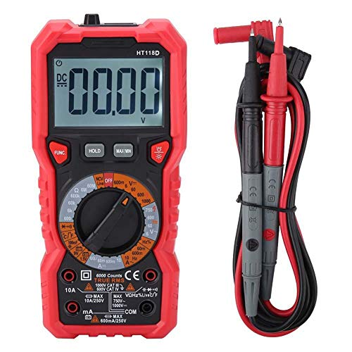 Digitalmultimeter, Walfront HT118D Hand-Digitalmultimeter AC/DC-Volt-Ampere-Ohm-Kapazität Hz-Tester Taschenlampendaten Anzeige für niedrigen Batteriestand mit Sonden und Handbuch -