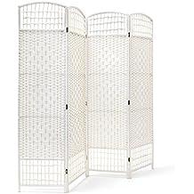 Relaxdays – Biombo / Panel/Divisor/Separador de habitaciones, 179 x 180 x 2 cm, 4 paneles, Madera con puntales de bambú, color blanco