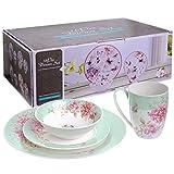 Geschirr-Set, 16-teilig, Retro-Porzellan-Geschirr mit Vogel- und Schmetterlingsdesign, mit Geschenkbox, porzellan, türkis, 18 cm
