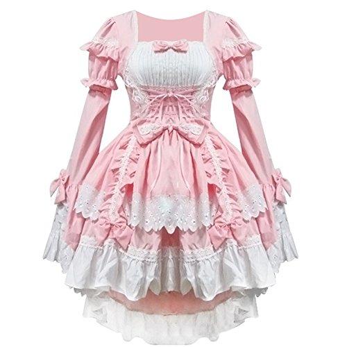 Damen Gothic Damen Karneval Fasching Cosplay Kostüm Abendkleid (M, Pink) (Mädchen Anime Kostüm)
