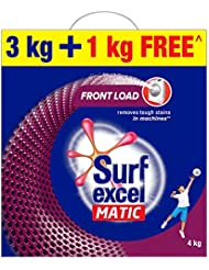 Surf Excel Matic Front Load Detergent Washing Powder, Specially Designed For Tough Stain Removal In Front Load Machines, 3+1 Kg Free