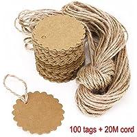 JZK 100 papel etiquetas regalo papel kraft + 20 m cuerda juta, etiquetas precio equipaje