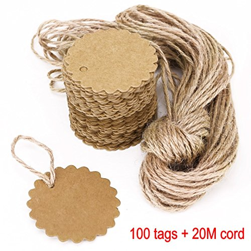 JZK 100 papel etiquetas regalo papel kraft + 20 m cuerda juta, etiquet