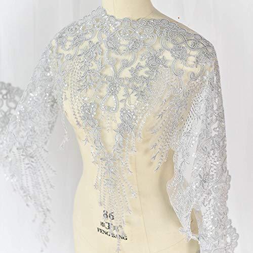bridallaceuk Spitzenapplikation Blume Patch Pailletten Breite Besatz Ideal für DIY Handwerk Nähen Kostüm Abend Brautschmuck A9 1 Meter ()
