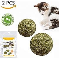 TanJean Katzenminze Ball Katzenspielzeug, 100% Ig natürliches Spielzeug für Katzen 2 Stück Beschäftigung & Spiel Katzengras Silvervine Catnip Helfen Bei Zahnstein & Mundgeruch für Katzen Zahnpflege