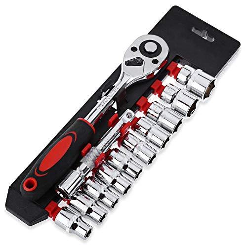 Ambility 12 Stücke 1/4 Mini Steckschlüsselsatz CR-V Antriebs Ratsche Schraubenschlüssel für Fahrrad Motorrad Auto