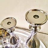 DRULINE 2er Sparset Kerzenleuchter Aladdin Kerzenständer aus Keramik Silber (1 x Klein + 1 x Groß) - 2