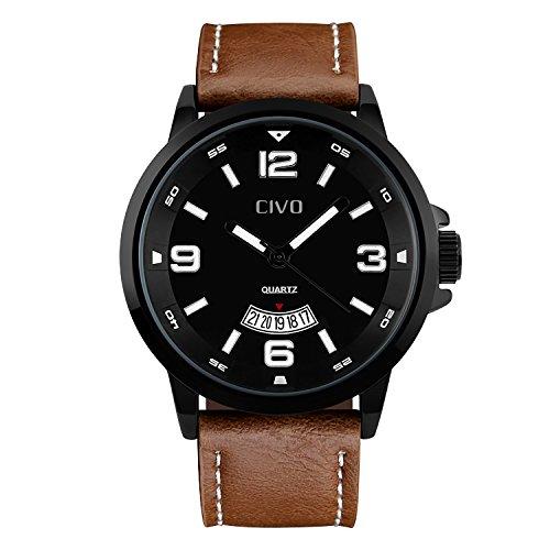 CIVO-Herren-Braun-Echtes-Lederband-Kalender-Analog-Uhr-Mnnlich-Luxus-Business-Casual-Wasserdichte-Mnner-Armbanduhr-Einfaches-Zeitloses-Klassisch-fr-Herren-Kleid-Minimalism-Mode-Quarz-Uhren-Schwarz
