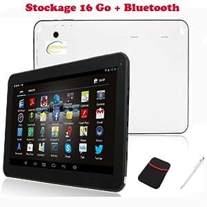 Tablette PC Tactile capacitif 10 pouces, Android 4.2, 1 GB Ram, CPU A20 (Cortex A8) 1.2 GHZ Dual Core, HDD 16 Go, Bluetooth, 2 x caméra, Wi fi, Noire (face) et Blanche (arrière) - Sunnytech ®