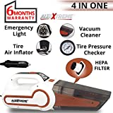 AllExtreme AE-Q8801D 4 in 1 Multifunctional Portable Handheld Car Vacuum Cleaner with Air Inflator, Analog Dial Tire Pressure Gauge and LED Light with 4.5M Car Cigarette Lighter Power Cord (4000Pa, 120W)