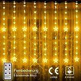 Yinuo Mirror® LED Lichterketten, 80 Sterne 144 LEDs Anschließbar Sternenvorhang mit 8 Modi Fernbedienung, Weihnachtsbeleuchtung für Fenster Dekorat