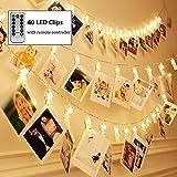 Four Heart LED Foto Clip Lichterkette + Fernbedienung & Timer , 40 Foto-Clips, 5 Meter/16,4 Füße, 8 Mode Fernbedienung, Warmweiß, USB, ideal für hängende Bilder, Notizen, Artwork, Memos, Valentinstag