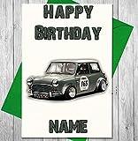 Racing Mini Personalisierte Geburtstagskarte–Jeder Name und Alter Druck auf der Vorderseite