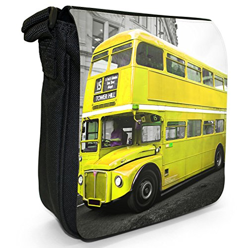 London Bus-Borsa a spalla piccola di tela, colore: nero, taglia: S Nero (Yellow London Bus)