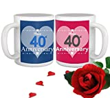 TIED RIBBONS 40th Marriage for Parents Father Mother Brother Sister Friend Collegue Relatives Set of 2 Printed Coffee Mugs with Rose(325ml Each,Blue,Pink)