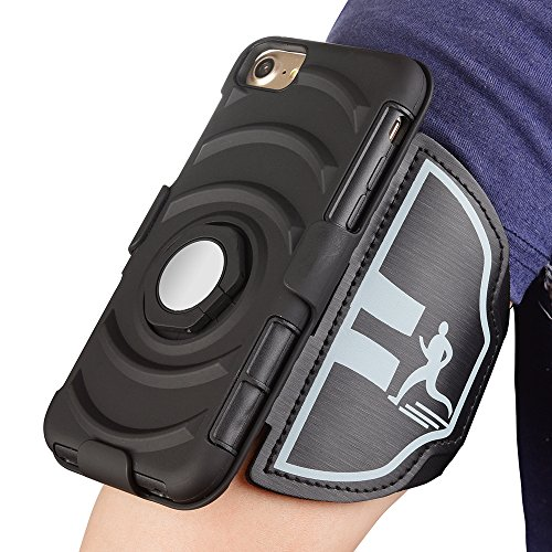 Widamin iPhone 7 Armband 360 Degreee Rotating Case, Sport Running Key & Card Holder Mobile Phone Arm Band with Magnet and Ring