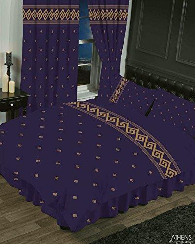Athen violett/gold, für Doppelbetten, Bettbezug/Bettwäsche-Set, HICO, Griechisch Schlüssel/Seil Effekt, metallic gold, aubergine pflaume -