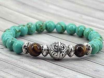 Bracelet pour hommes en perles de turquoise reconstituée et perle oeil de tigre