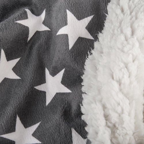 Bettwäsche Stern 3tlg 200x220 Lammfell Sherpa Optik Nicki Lamm Fell Wende Bettwäsche Winter Bettbezug Bettgarnitur flauschig kuschelig warm CelinaTex 5000127 Fantasia Stella grau weiß beige Sterne (Stella Schlafzimmer-set)