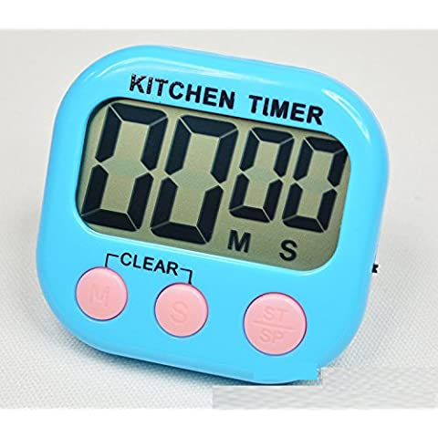 XJoel digitale LCD semplice timer da cucina alla rovescia alla rovescia cucina blu - 3 Pulsante Analogico