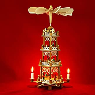 Wichtelstube-Kollektion Pirámide de Navidad XXL original, diseñoLos 3 Reyes Magos, 4 pisos