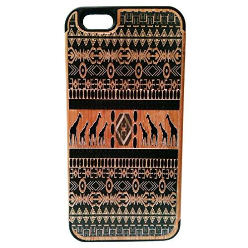 Ethnische Giraffen-Druck-Naturbambus + pc Handy-Fall-Haut Shell Abdeckungen für Iphone6 4,7 Inch (Samsung 5s Fällen)