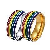 Lafeil Edelstahl Ringe Herren Goldring Vintage Regenbogen Bandring 8mm Breit Gold Bunt Ring Gr. 57 (18.1)